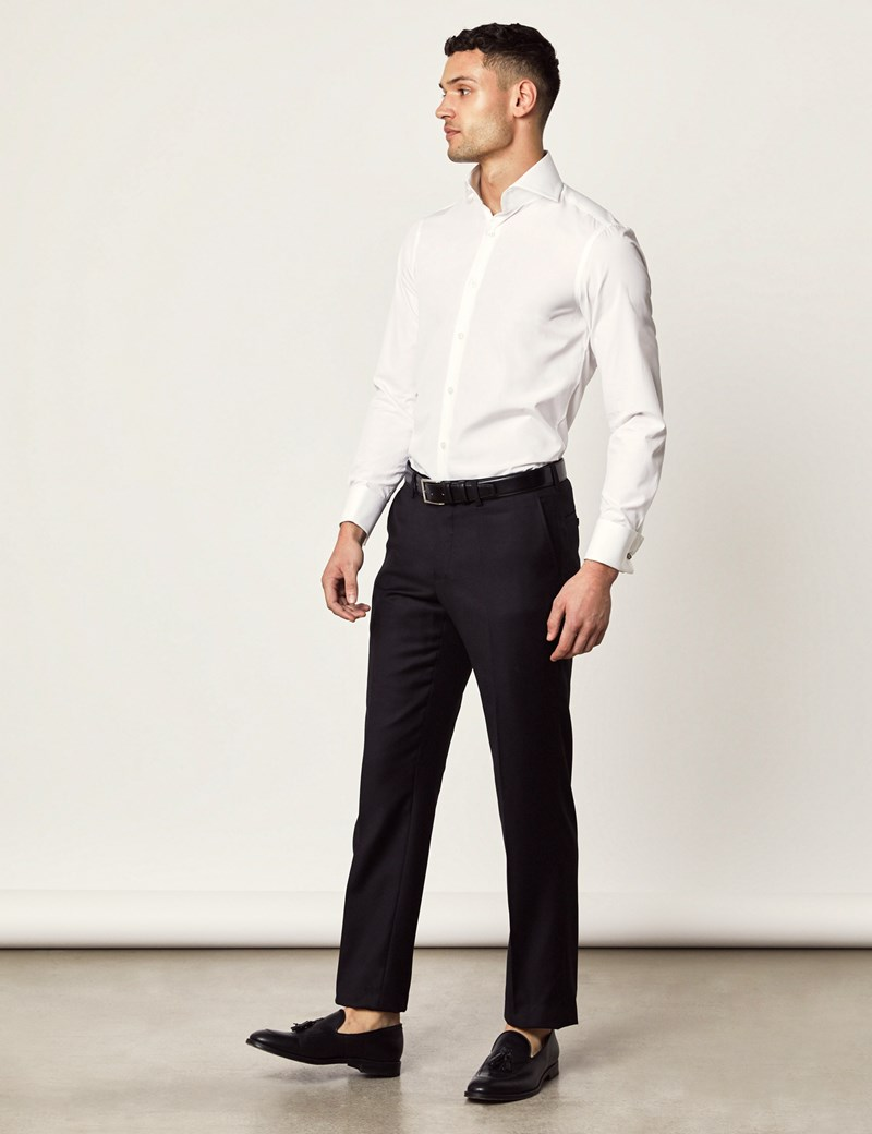 Men's Curtis White Twill Slim Fit Shirt - High Collar - Double Cuff
